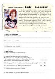 English Worksheets: Body Piercing