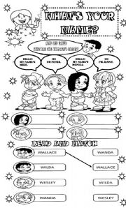 English Worksheet: WHAT´S YOUR NAME? FOR KINDERGARDEN