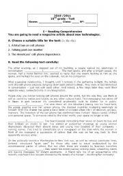 English Worksheet: Test - New Technologies