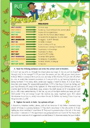 English Worksheet: * * * Phrasal verbs - PUT * * * - grammar guide + exercises