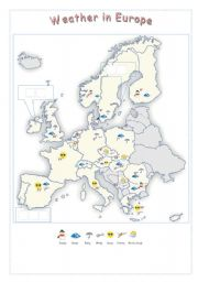 Europe : Weather (map + exercises : 3pages) Editable