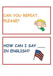 English worksheet: Classroom language cards part 2