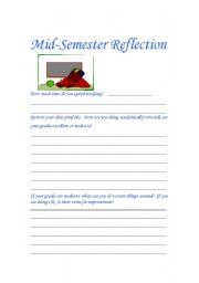 English Worksheets: Mid-Semester Reflection