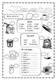 English Worksheet: Taste