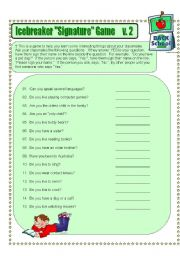 English Worksheet: Icebreaker