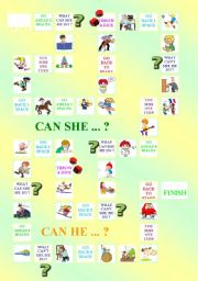 English Worksheet: Board Game PART I - Talking about one�s abilities (CAN / CAN�T)