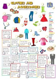 English Worksheets: CLOTHES AND ACCESSORIES (B&W + KEY)