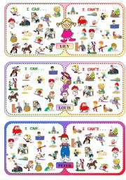 English Worksheets: Board Game PART II - Set of 12 Cards - Talking about one�s abilities (CAN / CAN�T)