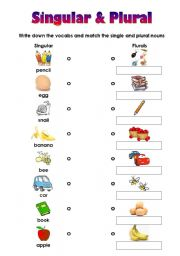 ... Worksheets: Matching Worksheet for Singular and Plural (very easy
