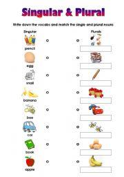 English worksheet: Matching Worksheet for Singular and Plural (very ...