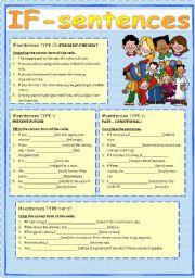 English Worksheet: IF-CLAUSES type zero, 1 and 2 (elementary exercises)
