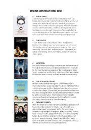 English Worksheets: OSCARS NOMINATIONS 2011
