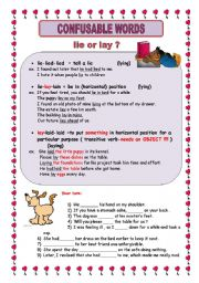 English Worksheet: Confusable words 2   ***rise-raise*** lie-lay***miss-lose***