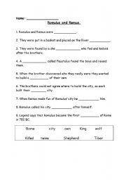 English Worksheets: Romulus and Remus Worksheet