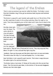 English Worksheets: The legend of the Kraken