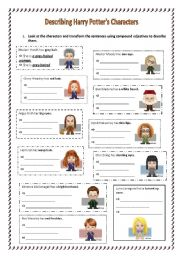 English worksheet: Compound adjectives with Harry Potter´s characters