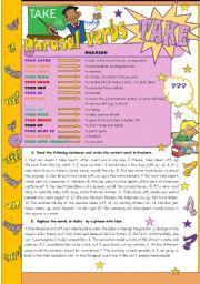 English Worksheet: * * * Phrasal verbs - TAKE * * * - grammar guide + exercises