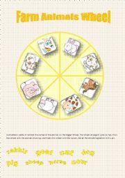 English Worksheet: Farm Animals Wheel