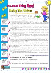 English Worksheet: The Best Thing About Being The Oldest  -  Reading Comprehension