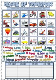 English Worksheet: Means of Transport (B&W + KEY)