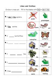 English Worksheet: Likes and Dislikes (Insects)