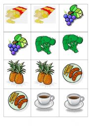 English Worksheet: Memory Game. food. some - any. countables, uncountables.