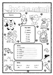 english worksheet food for animals. Black Bedroom Furniture Sets. Home Design Ideas