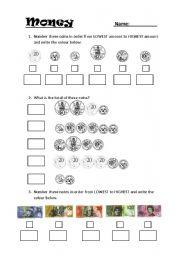 English Worksheet: Australian Money Worksheet