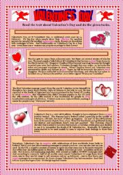 English Worksheet: Valentine´s Day (2)- text and activities