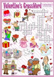 English Worksheet: VALENTINE´S CROSSWORD