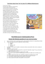 English Worksheet: The Seven Ages Poem and activities