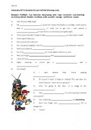 English Worksheet: vocabulary about mountain sports.
