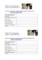 English Worksheet: A Royal Wedding : William and Kate the NEW couple