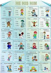 English Worksheets: He his him