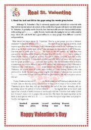 English Worksheet: Real St. Valentine