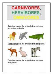 Carnivores, Herbivores, Omnivores