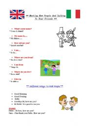 English Worksheet: Meeting New People And Talking To Your Friends - English and Italian