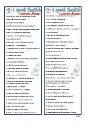 English Worksheet: Classroom Language Bookmark
