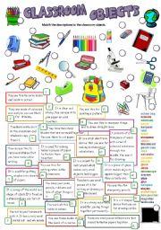 English Worksheet: CLASSROOM OBJECTS (B&W +KEY)
