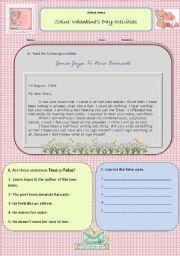 English Worksheet: Saint Valentine´s Day worksheet