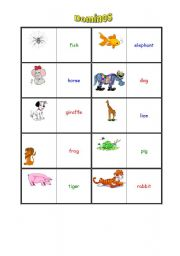 English Worksheets: animals-dominos