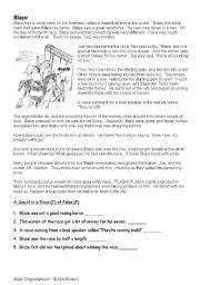 English Worksheets: Blaze Comprehension