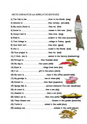 English Worksheet: comperatives and superlatives