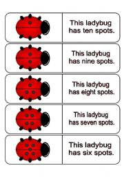 English Worksheets: 100 Large Ladybug Dominoes for Learning Numbers 1-10 (This file contains 21 pages in all.)