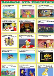 English Worksheet: Because vrs therefore-simpsons