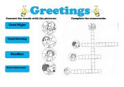 English Worksheets: Greetings  - connect the words with the pictures and complete the crossword