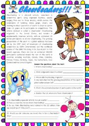 Cheerleaders!!! – reading comprehension [4 tasks + videos + movies] SOURCES AND LINKS INCLUDED ((3 pages)) ***editable