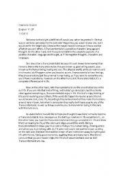 English Worksheets: Transcendentalism Cheat Sheet