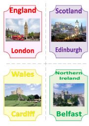 English Worksheet: THE UK FLASHCARDS 3 - CAPITALS and LANDMARKS, 2 pages, 8 cards