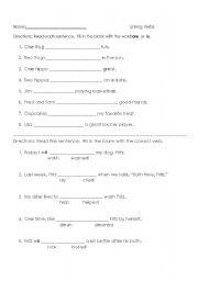 English Worksheet: linking verbs and verbs